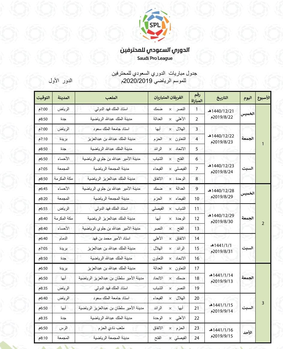 مباريات الدوري السعودي يوم الخميس