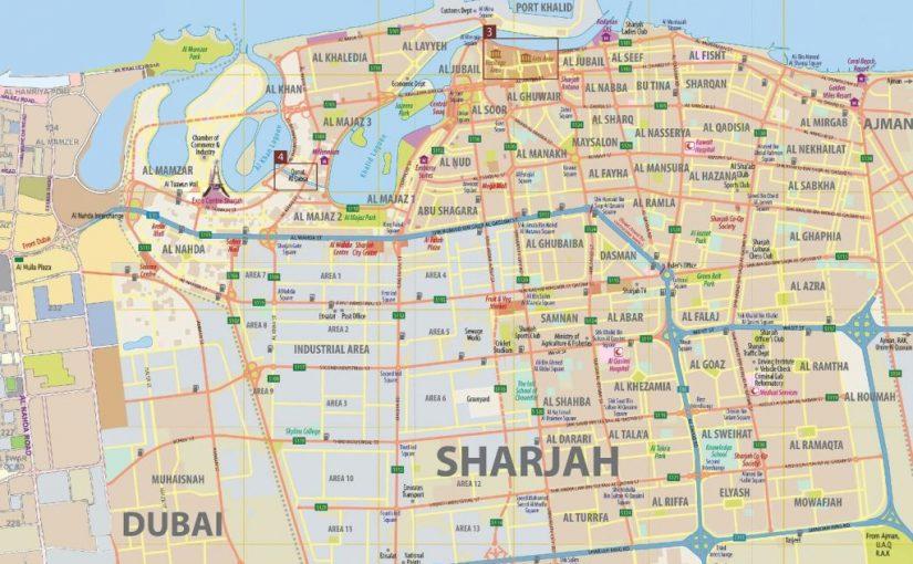 خريطة المناطق الصناعية في الشارقة