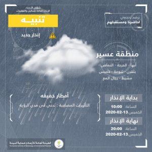 حالة الطقس في السعودية الخميس 13 فبراير 2020 ..والأرصاد تُحذر من الصقيع