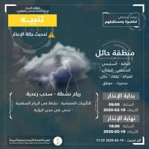 حالة الطقس في السعودية الأربعاء 19 فبراير 2020 ..والأرصاد تُحدّث الإنذار