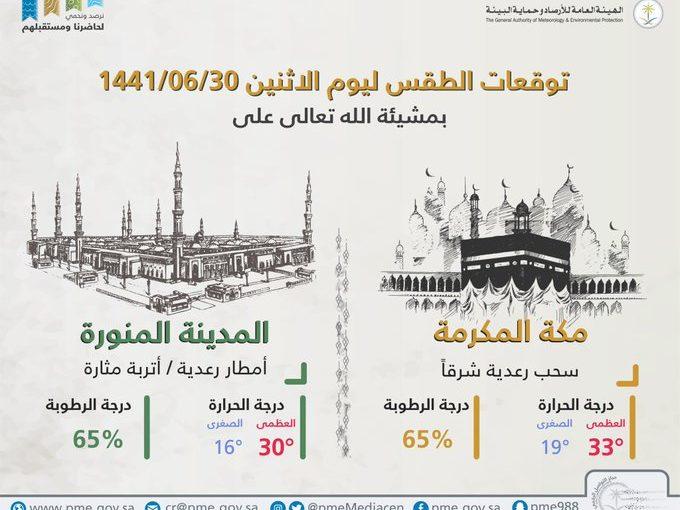 حالة الطقس في السعودية الإثنين 24 فبراير 2020 ...والأرصاد تُحذر من هطول أمطار رعدية