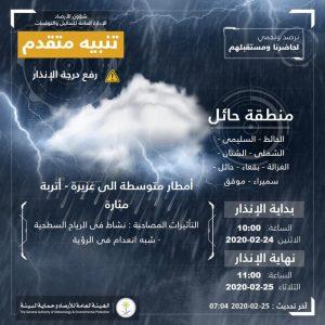 حالة الطقس في السعودية الثلاثاء 25 فبراير 2020 ..والأرصاد ترفع درجة الإنذار