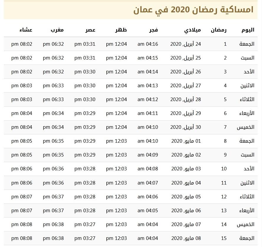 امساكية رمضان 2020 في عمان 1441
