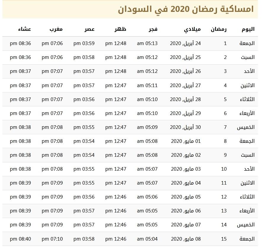 امساكية شهر رمضان 1441 في السودان