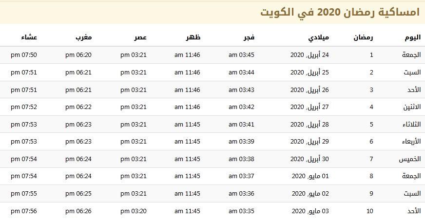 امساكية رمضان 2020 في الكويت 1441