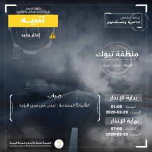 حالة الطقس في السعودية السبت 29 فبراير 2020 ..والأرصاد تُحذر من الضباب