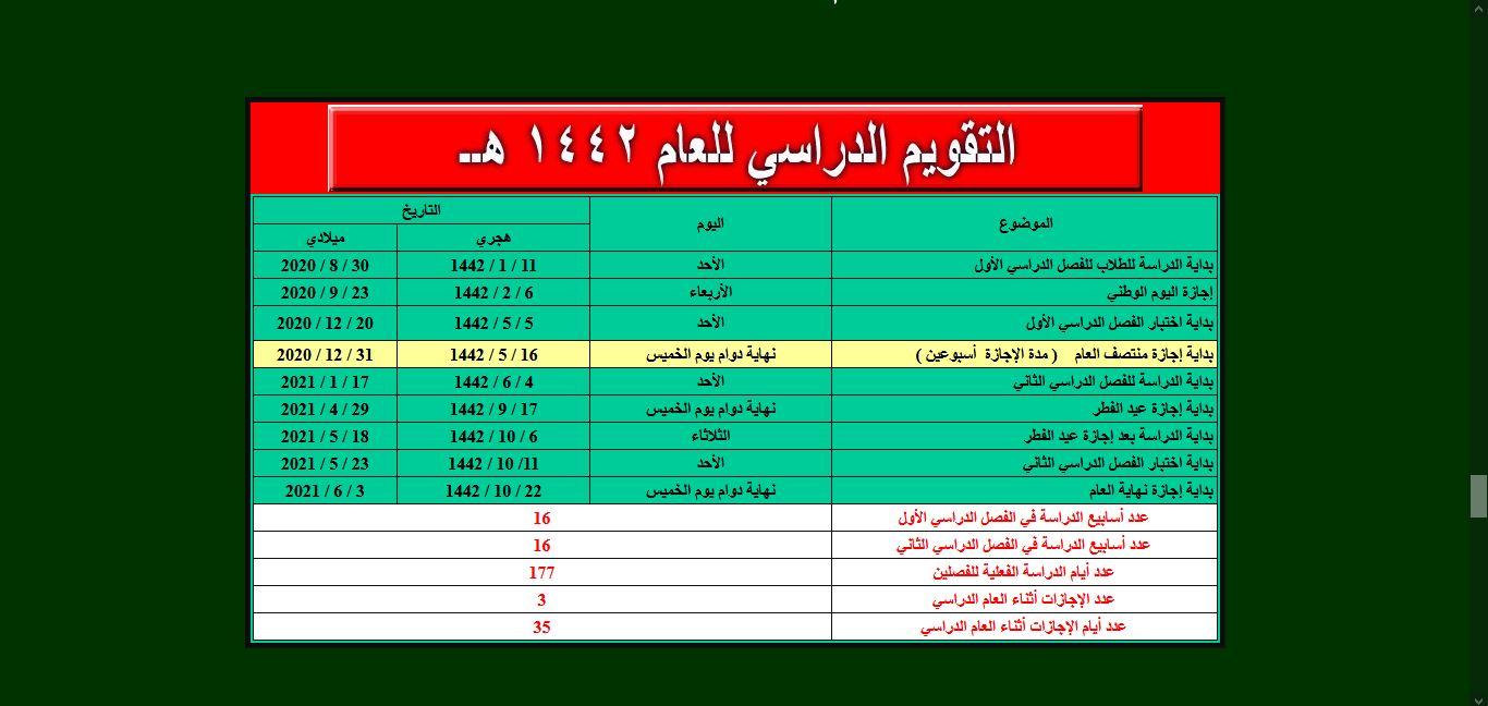 التقويم الدراسي السعودية 2020 1442 موسوعة