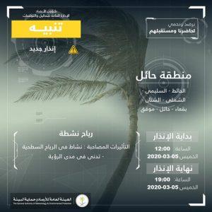 حالة الطقس في السعودية الخميس 5 مارس 2020