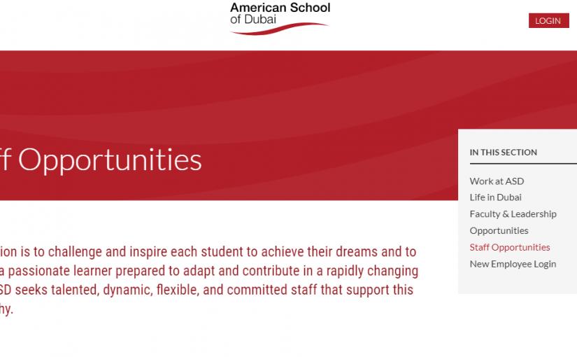 وظائف المدرسة الأمريكية في دبي