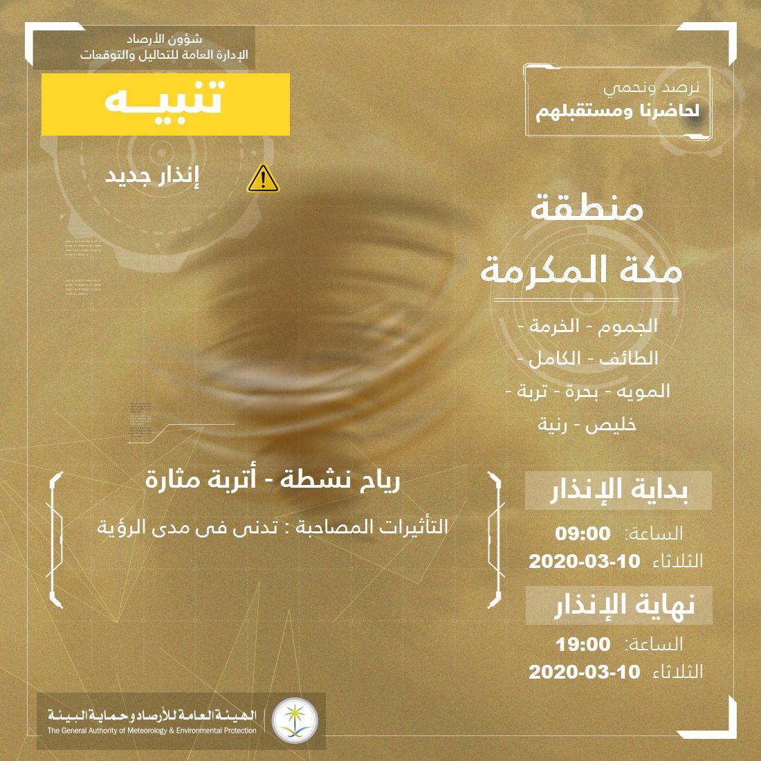 حالة الطقس في السعودية الثلاثاء 10 مارس 2020
