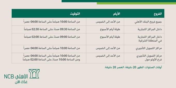 أوقات دوام البنك الاهلي في رمضان 2020 موسوعة