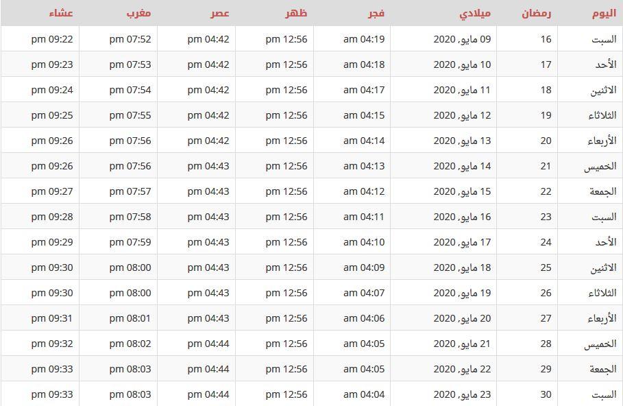 إمساكية رمضان في الجزائر 2020