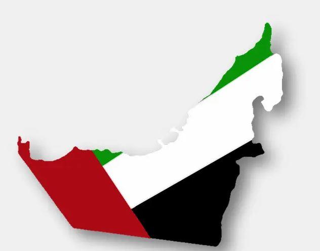 خريطة الإمارات بألوان العلم