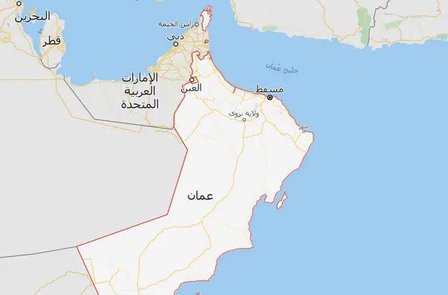 خريطة الإمارات وعمان