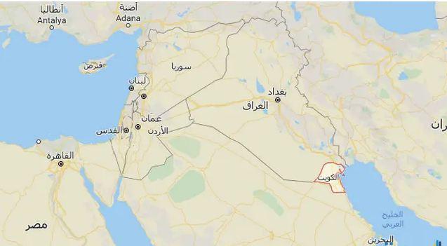 خريطة الكويت والعراق