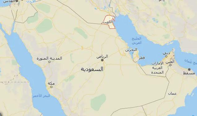خريطة الكويت والمملكة العربية السعودية