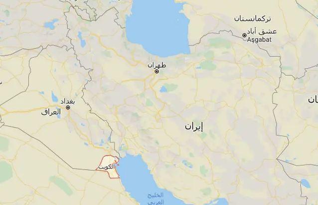 خريطة الكويت وإيران