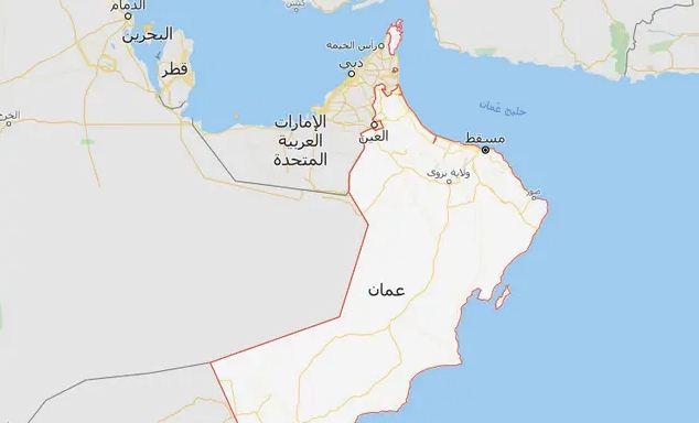 خريطة عمان والامارات