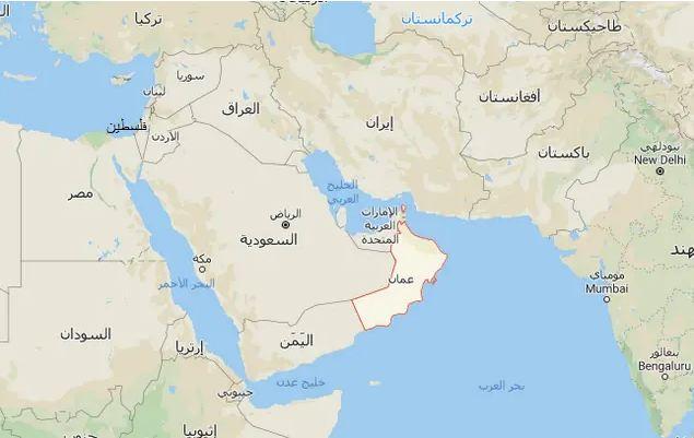 خريطة سلطنة عمان وحدودها