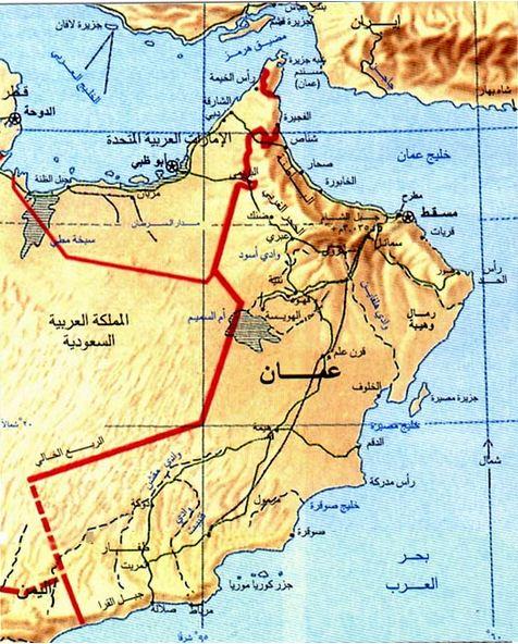 خريطة التضاريس في سلطنة عمان
