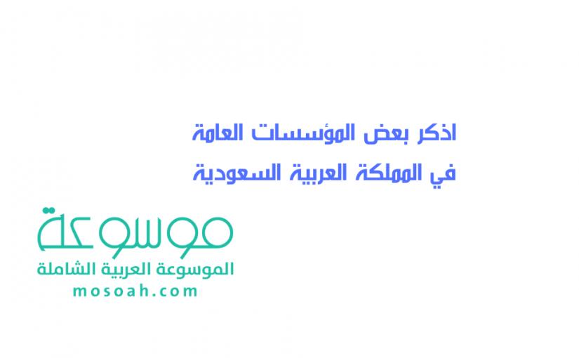 اذكر بعض المؤسسات العامة في المملكة العربية السعودية