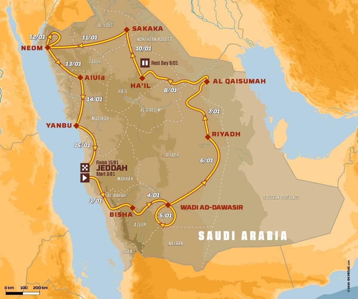 خريطة رالي داكار السعودية
