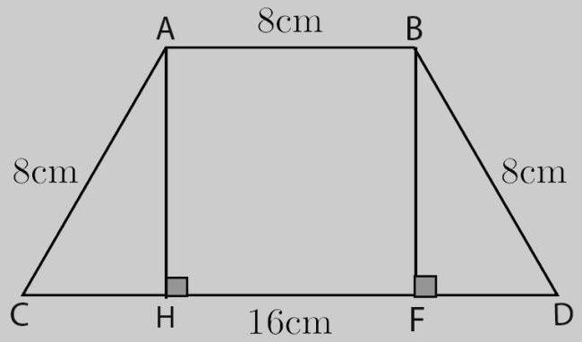مساحة شبه منحرف متساوي الساقين